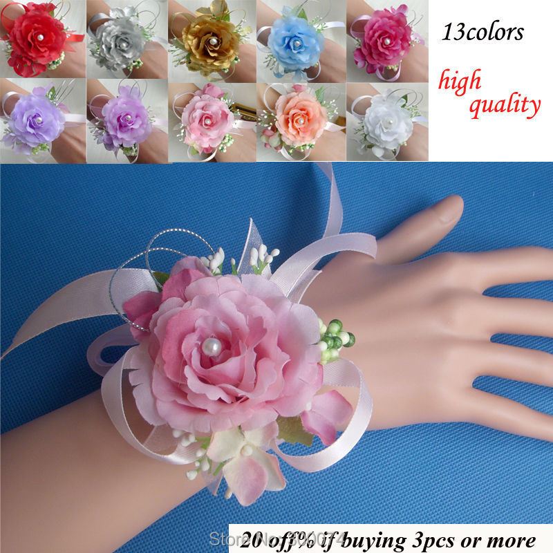Wrist Flower Corsage for Wedding or Prom Party Wedding Accessories Artificial Silk Rose Wrist Bouquet For Bride And Bridesmaid(China (Mainland))