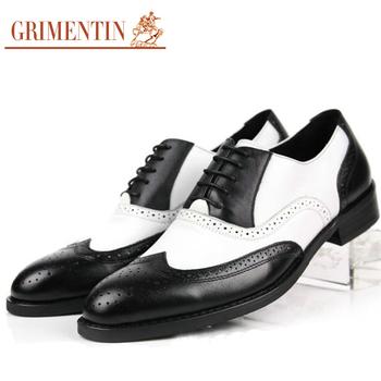 Premium 2015 mens black and white dress shoes genuine leather casual wingtip britishi vintage men's oxfords size38-44 f59