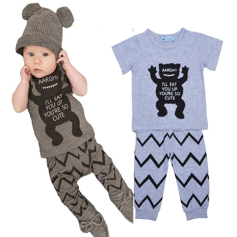 Bobo choses baby boy clothing set Little monster pattern boy clothes set short t-shirt t shirt + Wavy pants kids clothes set(China (Mainland))