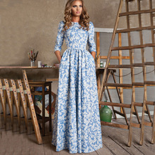 2015 Early Spring Summer New Fashion Runway Women Elegant 3/4 Sleeve Plus Size XXL White Flowers Printed Light Blue Long Dress(China (Mainland))
