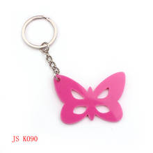 (200 pieces/lot) OEM Factory Promotion Keychain Cheap Custom Design Pink Butterfly Acrylic Keychain(China (Mainland))