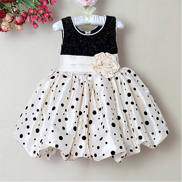 Toddler Kids Girl Flower Dot Puffy Dress Princess Tutu Summer Dress Bubble Dress(China (Mainland))