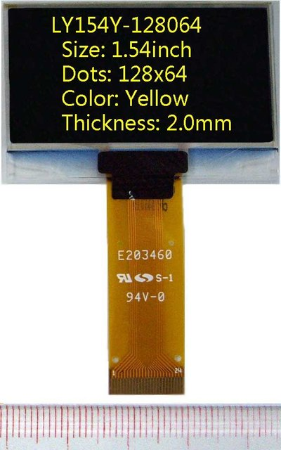 1.54 inch 128x64 Yellow 2mm(thickness) oled display LCD