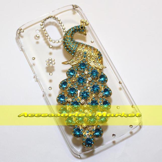 For HTC Desire 526 526G Case Cover, Handmade Bling Peacock Phone Case Cover For HTC Desire 526 526G 526G+(China (Mainland))