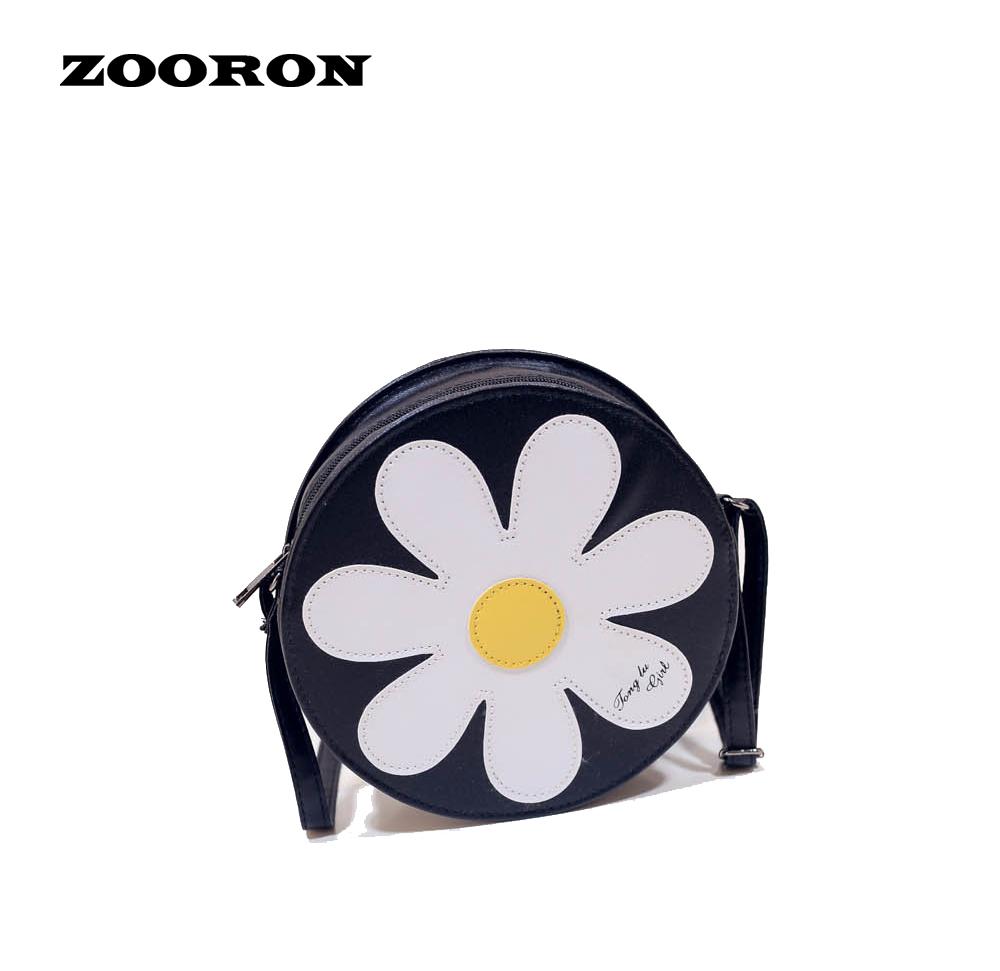 Sun Flower Pattern Rotundity Shoulder Bags 2016 New Women Crossbody Bag Korean Version of The New Pu Leather Fashion Handbags(China (Mainland))