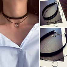 Gothic Lolita Punk Triangle Choker Necklace Black Velvet Steampunk Tattoo Necklaces Torques Jewellery Clavicle Colar Bijoux HOT(China (Mainland))