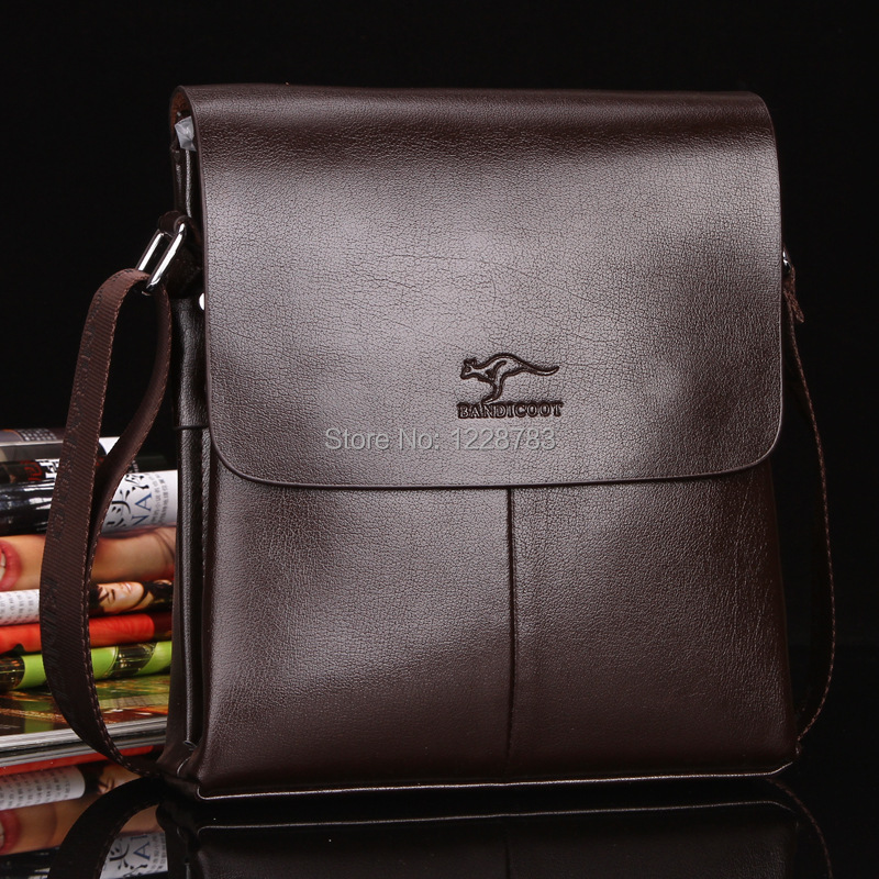 L&C New arrive hot sale nice high quality male brown leather men messenger bags business bag(China (Mainland))