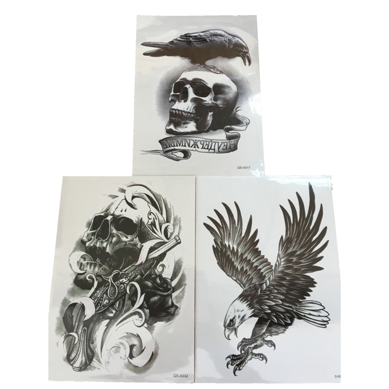 3Pcs Body Art Henna Tattoo Paste Black Skull Crow Eagle Waterproof Fake Temporary Tattoos Cool Stuff 3D Transfer Tattoo Stickers(China (Mainland))