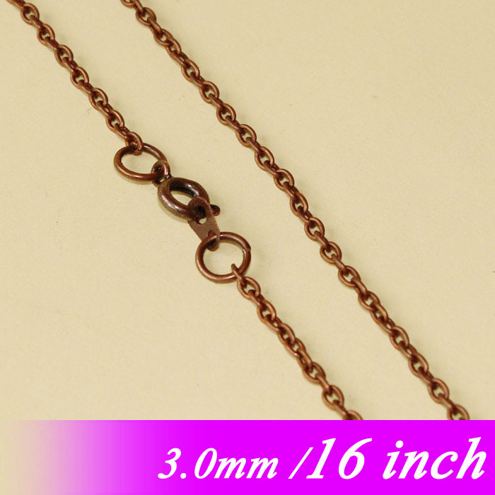 16 Antique Copper Tone Jewelry Metal 3mm Cable Links With Round Clasps Connectors For Fashion Necklace Chains Pendants Findings<br><br>Aliexpress