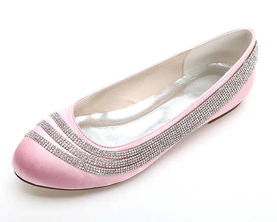 Fashion sparkling rhinestone chain satin flats woman shoes special design wedding party prom shoes pink white ivory black(China (Mainland))