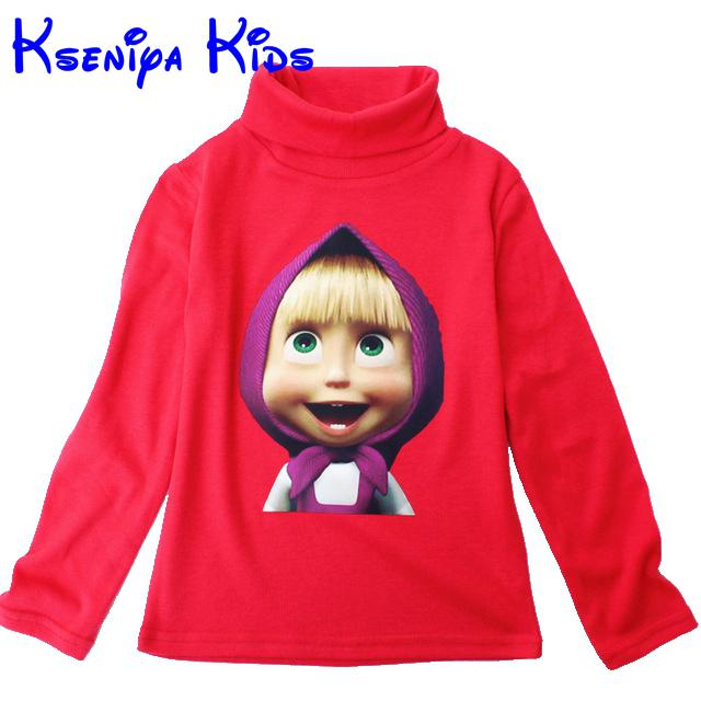Children Long Sleeve T-Shirt Cotton Turtleneck Cartoon Boys Clothes Kids Clothes Girls Clothes Masha Bear Kids Designer Brand(China (Mainland))