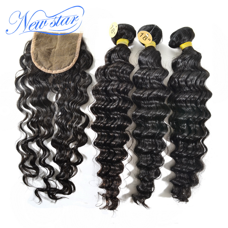 new star hair Brazilian deep wave virgin hair 3 bundles with 1 middle part deep wave lace closure