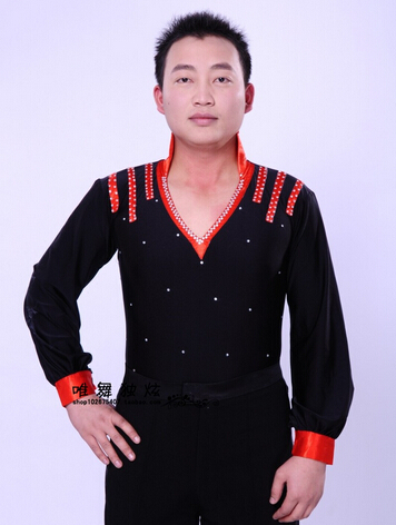 Elegant Black Red Rhinestone Boy Latin Dance Shirt Standard Ballroom Dance Shirt Men(China (Mainland))