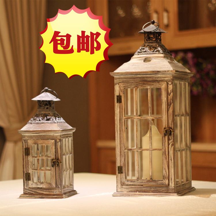 Do the old European style wooden candlestick iron lantern lantern wedding decorations landing wind glass ornaments(China (Mainland))