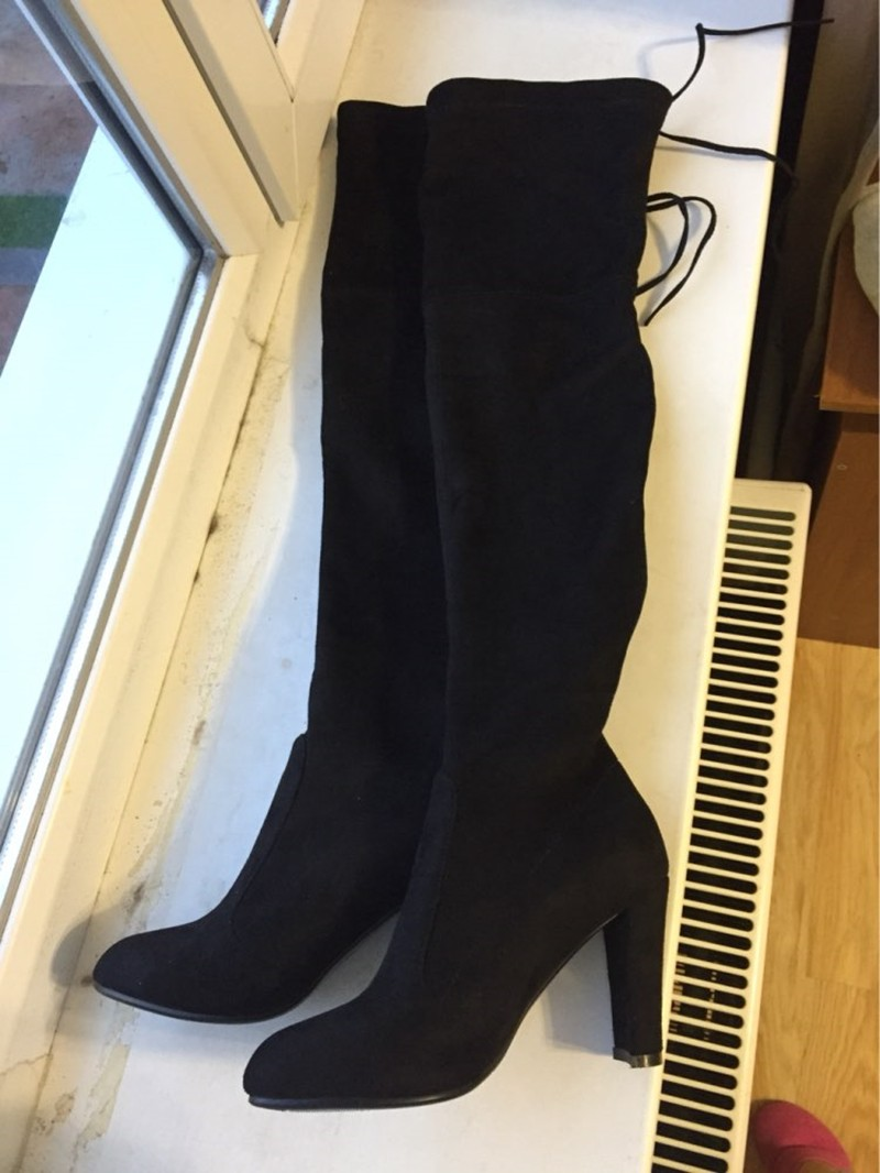 Women Winter Boots Stretch Faux Suede Slim Thigh High Boots Brand Over the Knee Boots High Heels Woman Shoes Plus Size 35-46