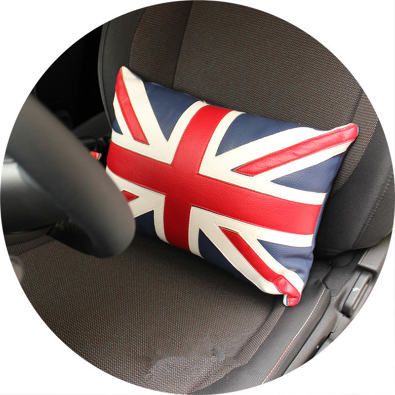 1pc car red union jack seat lumbar support back pillow for mini cooper R50 R52 R53 R55 R56 R60 F55 F56 F54(China (Mainland))