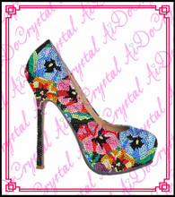 Aidocrysta fashion flower pattern crystal high heel italian shoes with matching bags(China (Mainland))