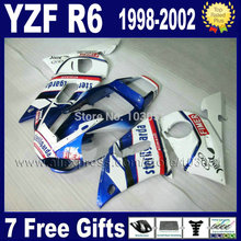 Buy Custom motorcycle fairings kit YAMAHA YZF R6 1998 1999 2001 2002 white blue YZFR6 02 01 00 99 98 YZF600 body Fairing kits for $345.00 in AliExpress store