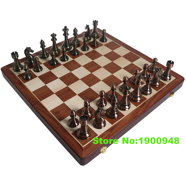 Chess Set Top Quality Bronze Mental Chess Pieces Chessman- Travel Folding Portable Board Nice Gift for Friends Game Collection(China (Mainland))