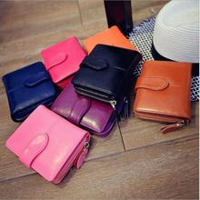 2015 New fashion High Quality Women Short Wallets Brand Designer Genuine leather Womens Wallets and Purses Zip fastener Bag(China (Mainland))