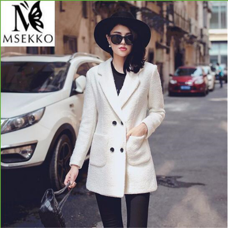 New 2016 Winter Coat Women Warm Cotton-padded Wool Coat Women's Cashmere Coat White Fashion Jacket Winter Women Parka Plus Size(China (Mainland))