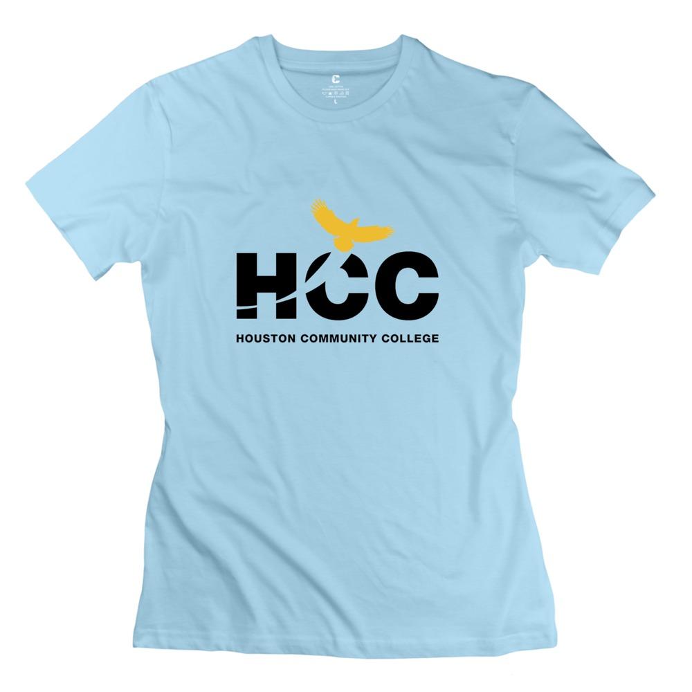 Outdoor Houston Community College Girls t-shirt 2015 High Quality Short Sleeve Cotton Woman t shirt Cheap Price(China (Mainland))