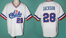 Baseball Jersey #28 Bo Jackson Chicks Baseball Jersey White Movie Jersey American Baseball Jersey Cheap Throwback Short Sleevele(China (Mainland))