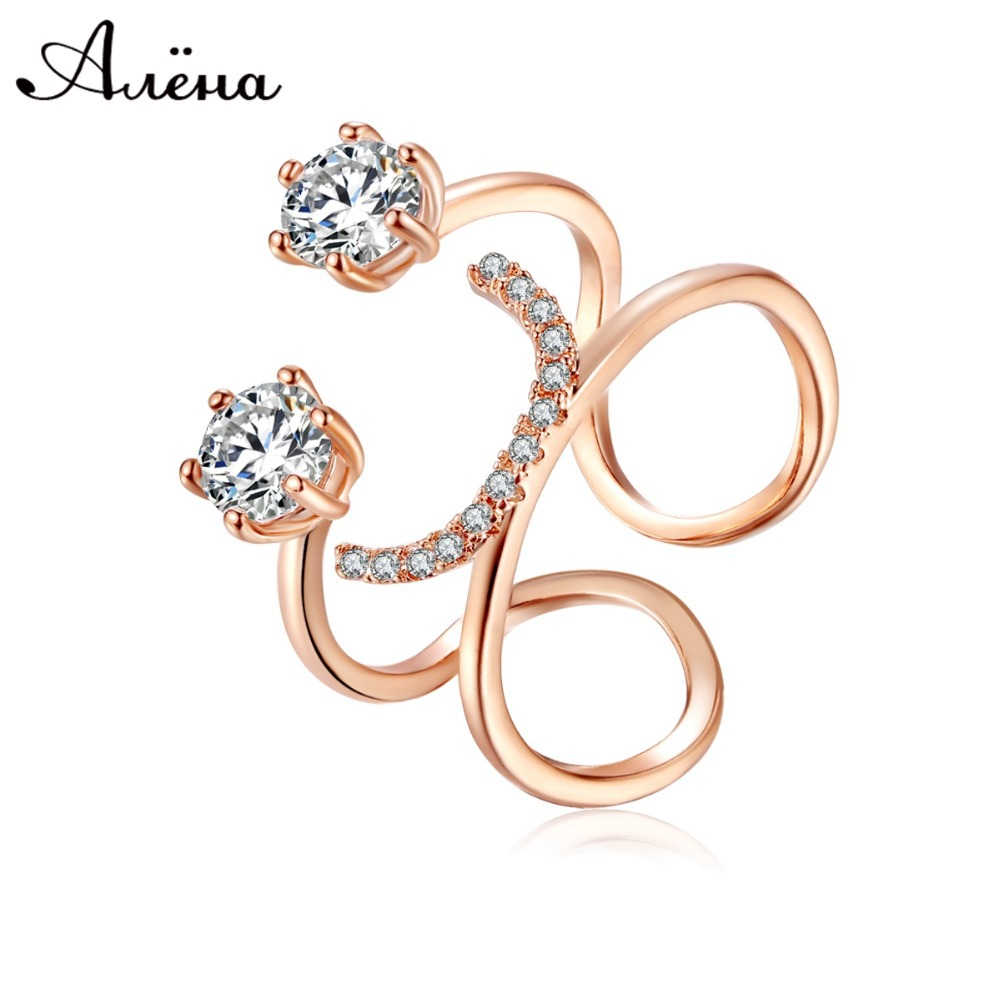 Zircon Opening Ring U Shaped Crystal Double Finger Ring Silver And 18k Rose G