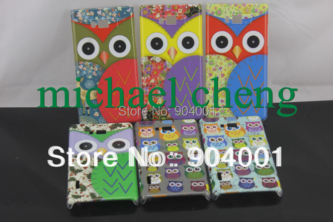 Lovely Cartoon Case Cute Owl Hard Case for LG OPTIMUS L7 P705 phone Cover MOQ 1PC(China (Mainland))