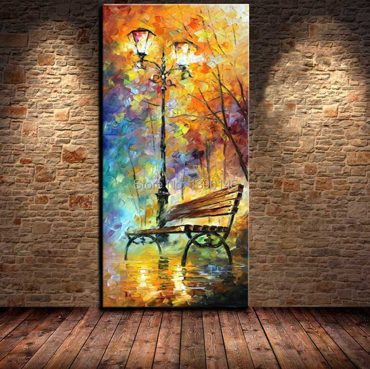 100% Hand Painted Landscape City Bench Night View Knife Modern Canvas Painting For Living Room Wall Art(China (Mainland))