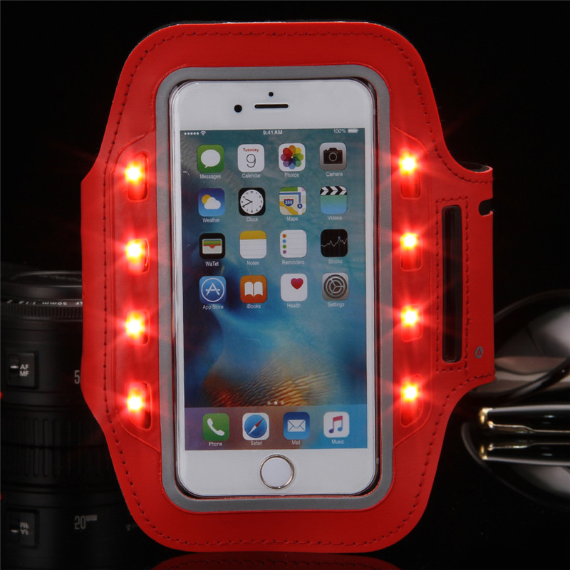 LED Flashing Arm Band for Iphone 6 Brush Metal PVC Arm Pouch Case for Samsung Galaxy S4 Running/Cycling/Skating/Party/Shooting(China (Mainland))