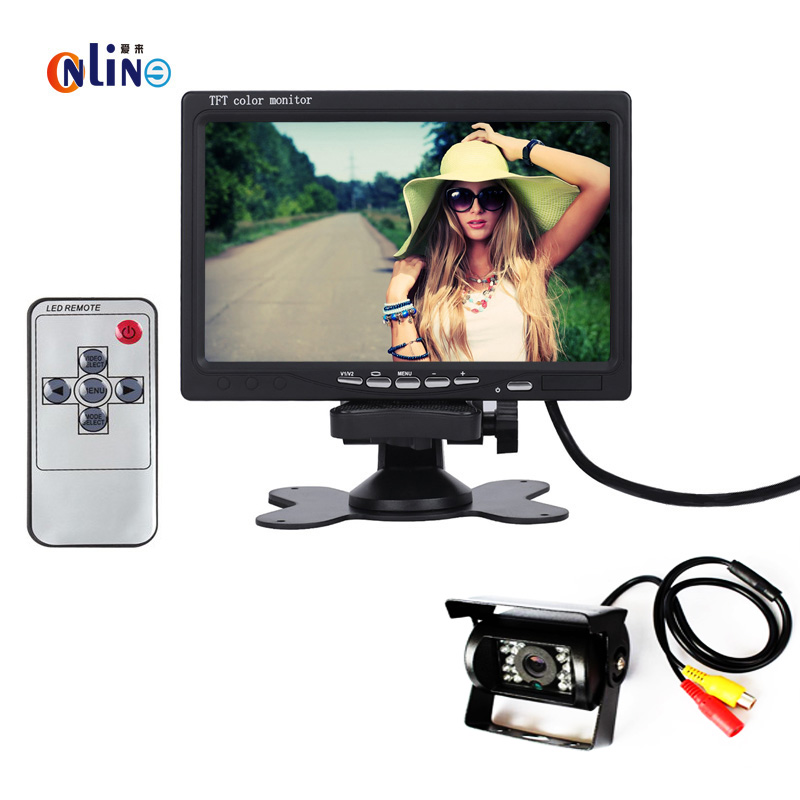"DC 24V Bus Truck Parking Camera Monitor Assistance System, 7"" Car Monitor With Rear View Camera 20M RCA Video Cable(China (Mainland))"