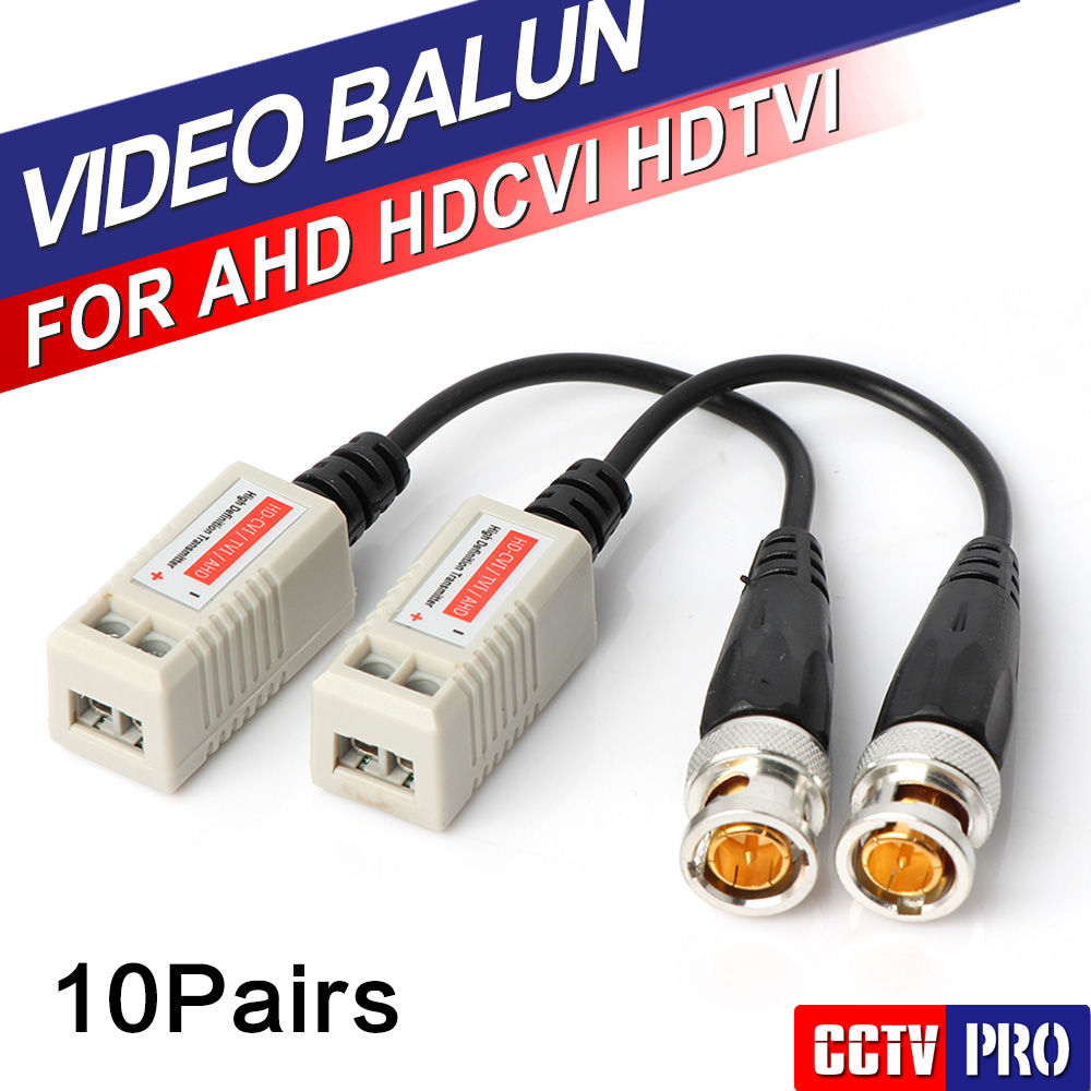 10Pairs 200M Range For HDCVI/AHD/TVI camera Twisted BNC CCTV Video Balun Passive Transceivers UTP Balun BNC Cat5 CCTV UTP(China (Mainland))