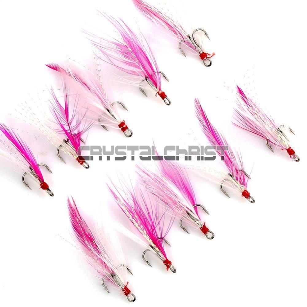New 5pcs #8 Lures Enhancing Treble Hooks Sea Mackerel Fishing W/ Pink Feathers(China (Mainland))