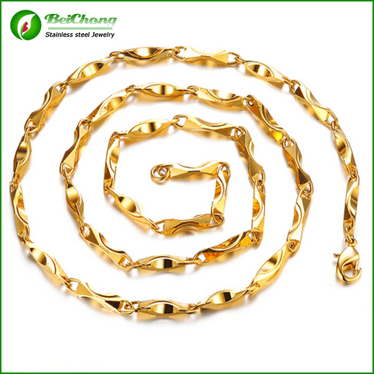 (10 pieces/lot) Thick gold chains for men 316l steel stainless chain necklace for men charm 18k mens gold chains figaro NW0120(China (Mainland))