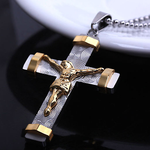 2014 New and stereo Cross charm pendant Necklace Fashion Men's Jewelry ,Stainless Steel Jesus Necklaces(China (Mainland))