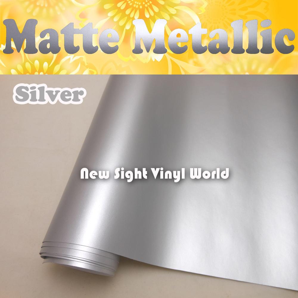 Premium Matte Metallic Silver Vinyl Matte Metal Silver Film Roll Air Free For Vehicle Wraps Size:1.52*20M/Roll (5ft x 65ft)(China (Mainland))