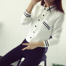 Buy Korean Style Women Blouses Fashion Autumn Long Sleeve Sequin Chiffon Ladies Office Shirt White Blue Tops Formal for $4.61 in AliExpress store