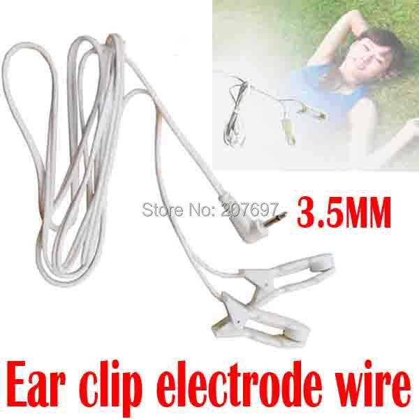 Tens ems Massage Ear clip electrode connecting lead 3.5mm wire for Sleep insomnia acupuncture therapy machine slimming massager(China (Mainland))