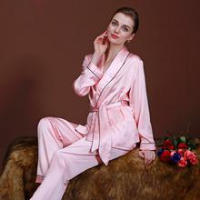 2pcs Spring Autumn Pajama Sets Satin Robes for Women Silk Nightgowns Sleepwear Bathrobe Sexy Nightwear Pajamas Kimono Homewear 7(China (Mainland))