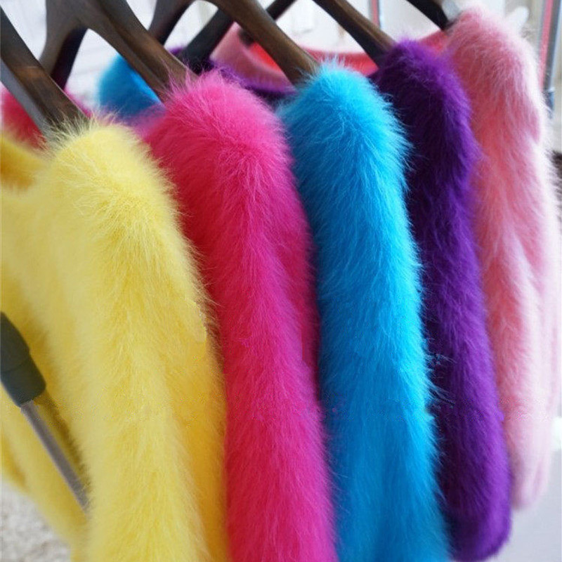Elegant Fashion Fluffy Women Cashmere Sweater Plush Mink Cashmere Pullover O-neck Women Sweater Mink Cashmere Faux Fur Loose
