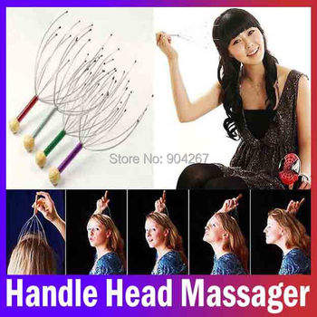 manual vibrating scalp stainelss Steel handle head Health care beauty massage manual Octopus Shaped head massager Free Shipping