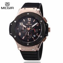 New Megir Mens Watches Top Brand Luxury Chronograph Army Sport Quartz Watch Silicone Gold Clock Men Wristwatch Relogio Masculino