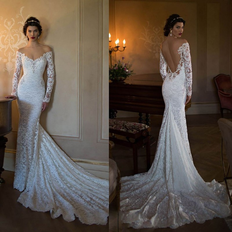 Wedding Dress Long Sleeve Backless : Dresses sexy backless off the shoulder bridal gown from reliable dress