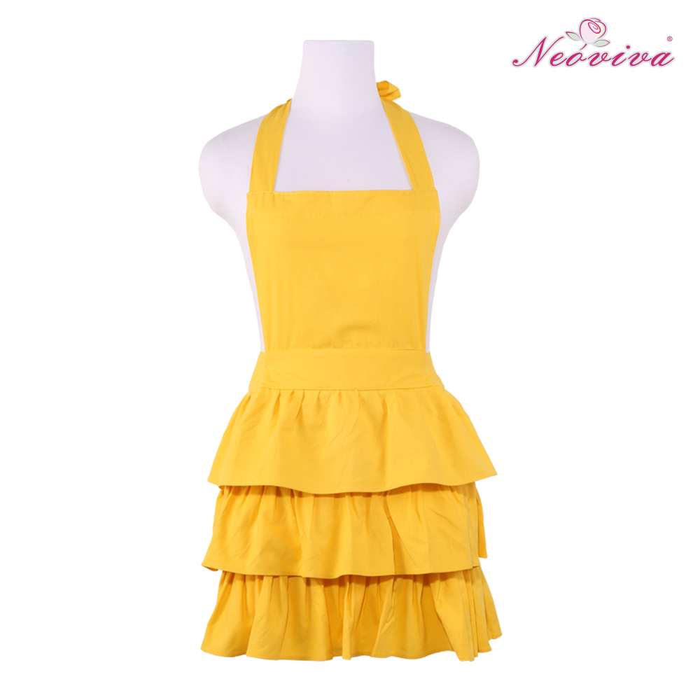 Neoviva Cotton Canvas Three Layer Flounce Woman Kitchen Cooking Aprons with Ruffles, Bright Yellow Housekeeping Wear(China (Mainland))
