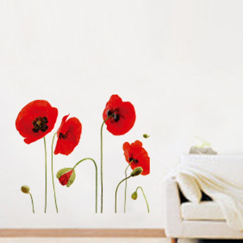 acquista all ingrosso online red design camera da letto da gerbera bundle red wall sticker wall art com