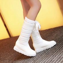 Chic tiras para mujer talón plano hasta la rodilla botas zapatos de la nieve Pull en Plus Sz M-4(China (Mainland))