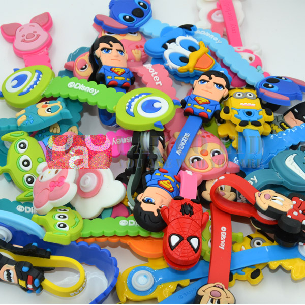 2 Super heros Cord Holder Winnie Minnie Melody Stitch Monsters Alien Comics Earphone Silicone Cable Winder - UAU(Shenzhen store Trading Co.,Ltd)