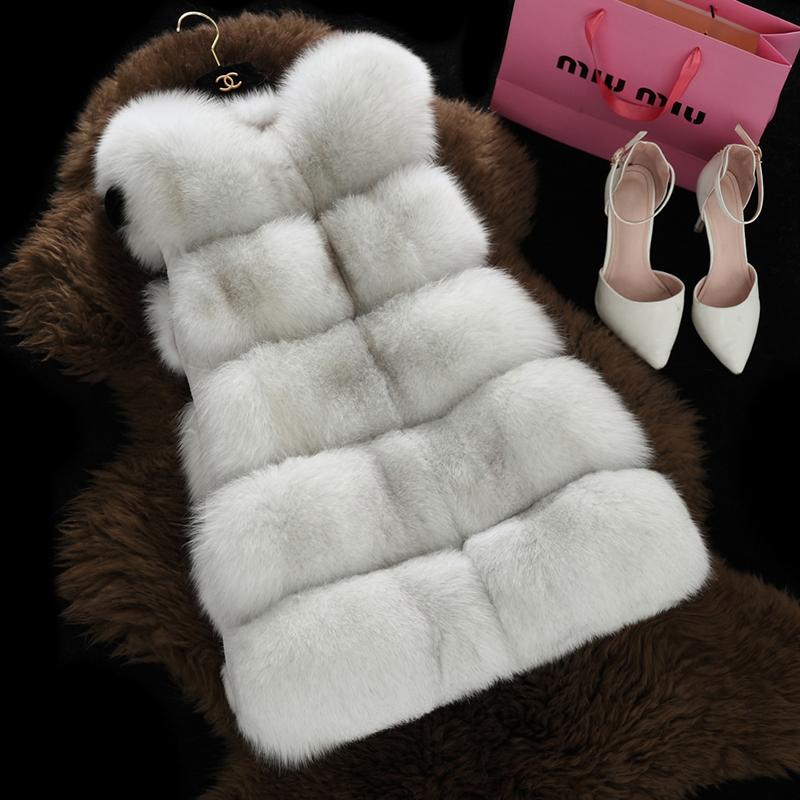 Top Quality Winter Warm Fashion Long Women Real Fur Vest Genuine Fur Coat Fox Fur Waistcoat Colete Feminino Plus size BF-V0302