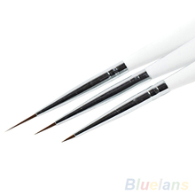 3Pcs Acrylic French Nail Art Liner Painting Drawing Pen Brush Tool Set Kit 3EU6